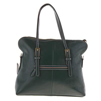 """Сумка женская """"Анжела"""" 2 отделения, наружный карман, длинный ремень, темно-зеленый"""