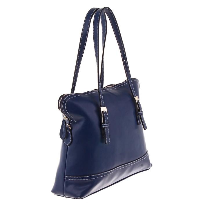 """Сумка женская """"Анжела"""" 2 отделения, наружный карман, длинный ремень, темно-синий"""