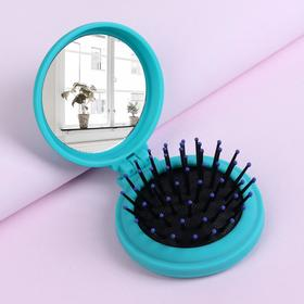 Massage foldable comb, round mirror, d=7cm, color turquoise/black