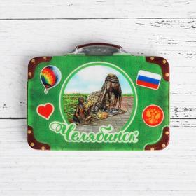 Магнит в форме чемодана «Челябинск. Мальчик с верблюдами» в Донецке