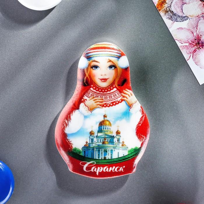 Магнит в форме матрёшки «Саранск. Кафедральный собор Феодора Ушакова»