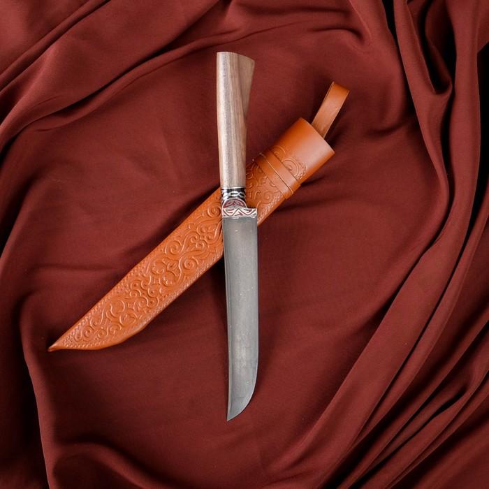 Нож Пчак Шархон - орех, сухма, пуговица, гарда олово гравировка У8 (15-16 см)