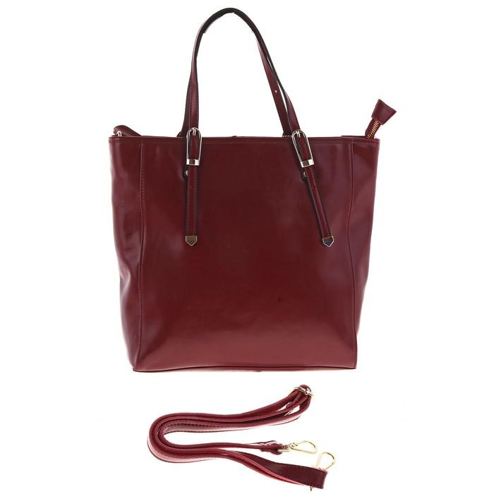 """Сумка женская """"Вита"""" 2 отделения, наружный карман, длинный ремень, цвет темно-бордовый"""