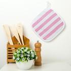 Прихватка Этель «Розовая полоска» 20×20 см, рогожка