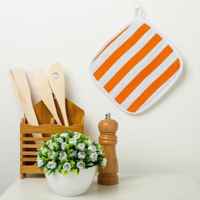 "Potholder Ethel ""Peach stripe"" 20×20 cm, matting"