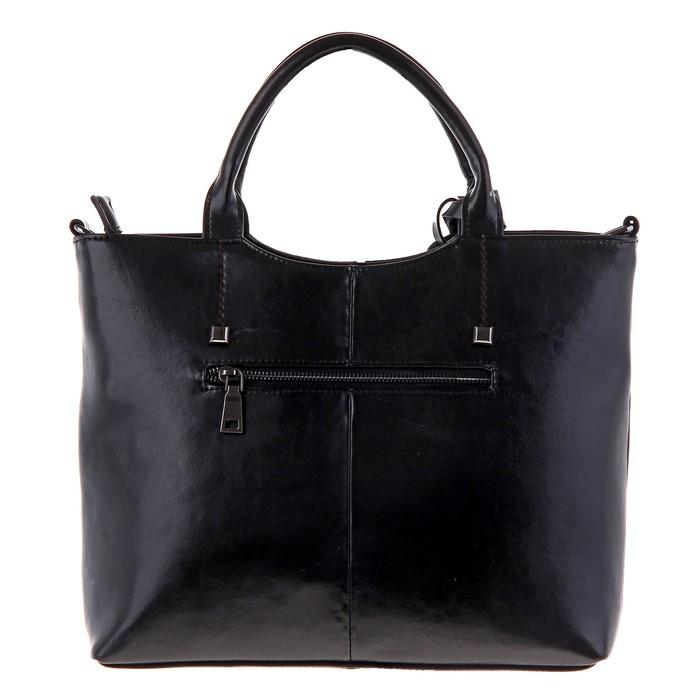 """Сумка женская """"Луиза"""" 2 отделения, наружный карман, длинный ремень, черный"""