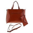 """Сумка женская """"Конверт"""" 2 отдела, 2 наружных кармана, кошелек, длинный ремень, коричневый"""
