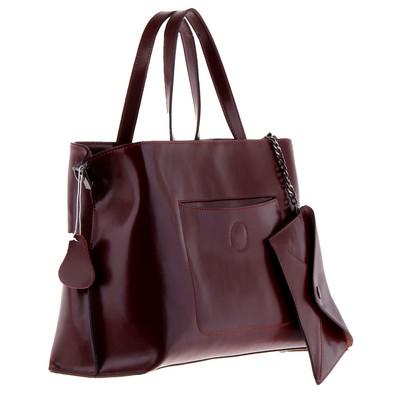 """Сумка женская """"Конверт"""" 2 отделения, 2 наружных кармана, кошелек, длинный ремень, темно-красный"""