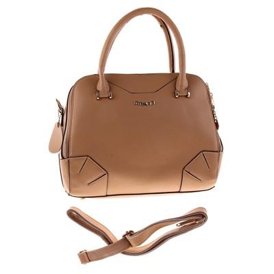 """Сумка женская """"Элис"""" 2 отделения, наружный карман, длинный ремень, светло-коричневая"""