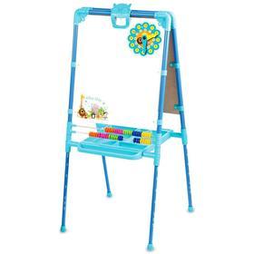 Мольберт двухсторонний растущий, со счётами, с большим пеналом, магнитными буквами, цифрами и мозаикой, цвет голубой Ош