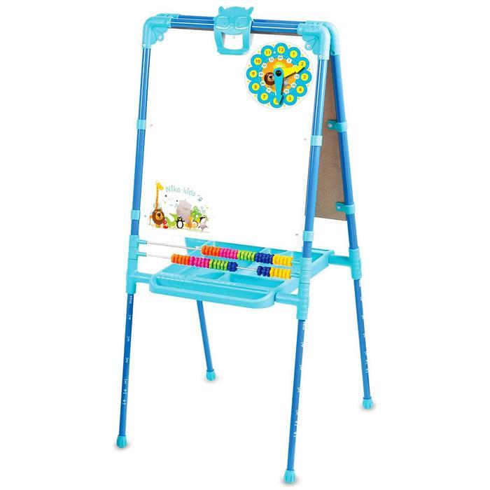 Мольберт двухсторонний растущий, со счётами, с большим пеналом, магнитными буквами, цифрами и мозаикой, цвет голубой