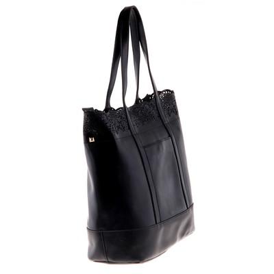 """Сумка женская """"Ажур"""" 2 отделения, наружный карман, длинный ремень, черный"""