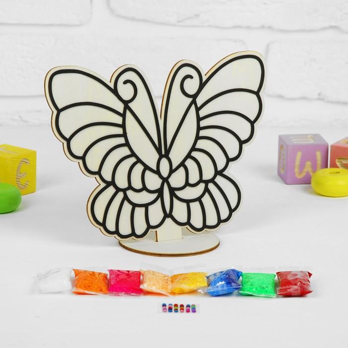 """Аппликация шариковым пластилином """"Бабочка-красавица"""" 8 цветов по 4 гр, подставка"""