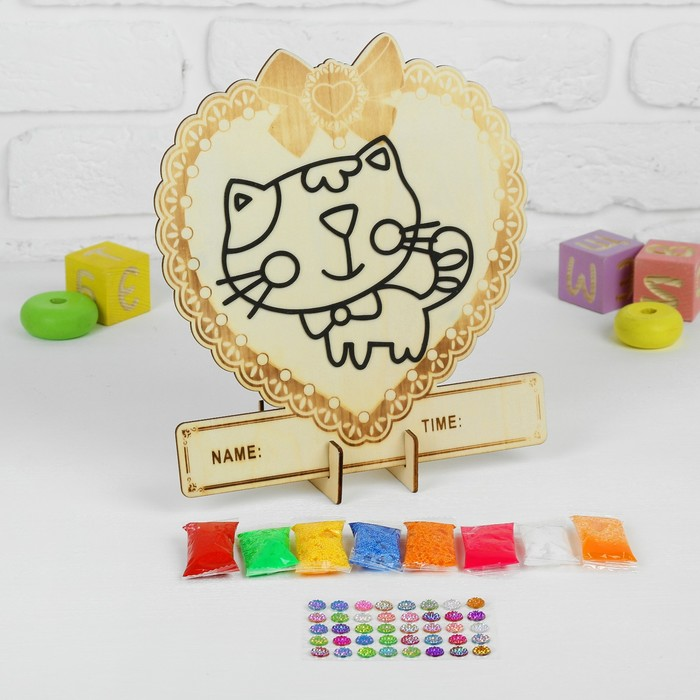 Аппликация шариковым пластилином в форме сердца «Кошечка» 8 цветов по 4 г, подставка