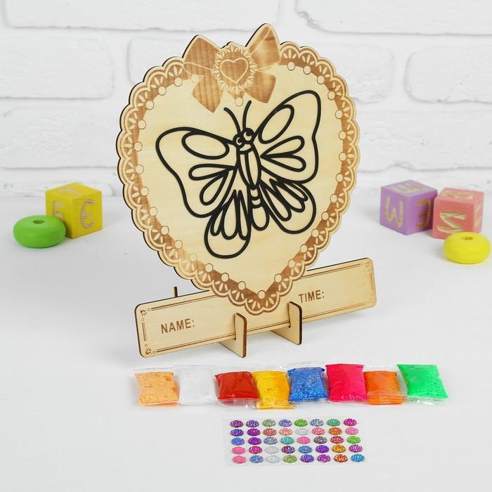 """Аппликация шариковым пластилином в форме сердца """"Бабочка"""" 8 цветов по 4 гр, подставка"""
