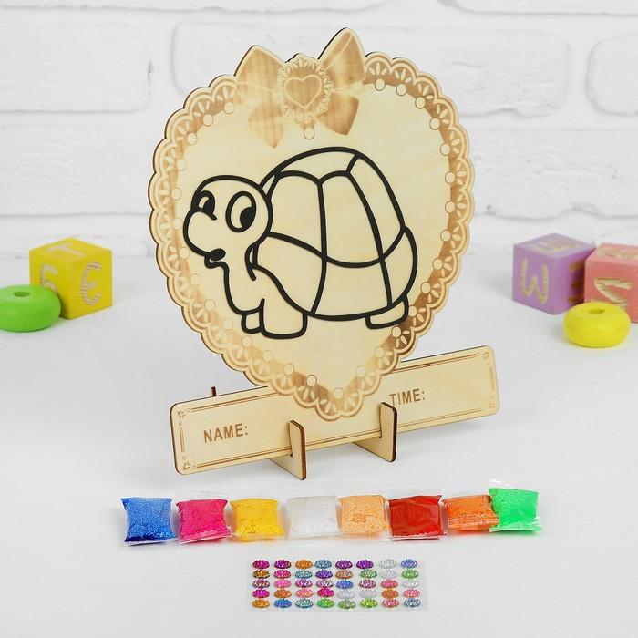 Аппликация шариковым пластилином в форме сердца «Черепашка» 8 цветов по 4 г, подставка