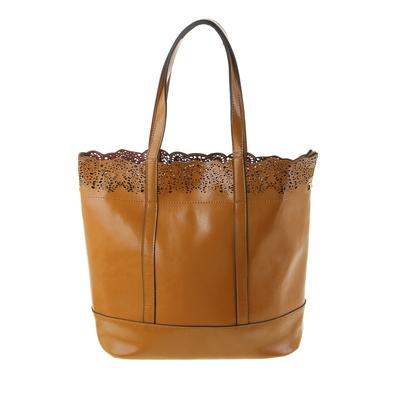 """Сумка женская """"Ажур"""" 2 отделения, наружный карман, длинный ремень, светло-коричневый"""