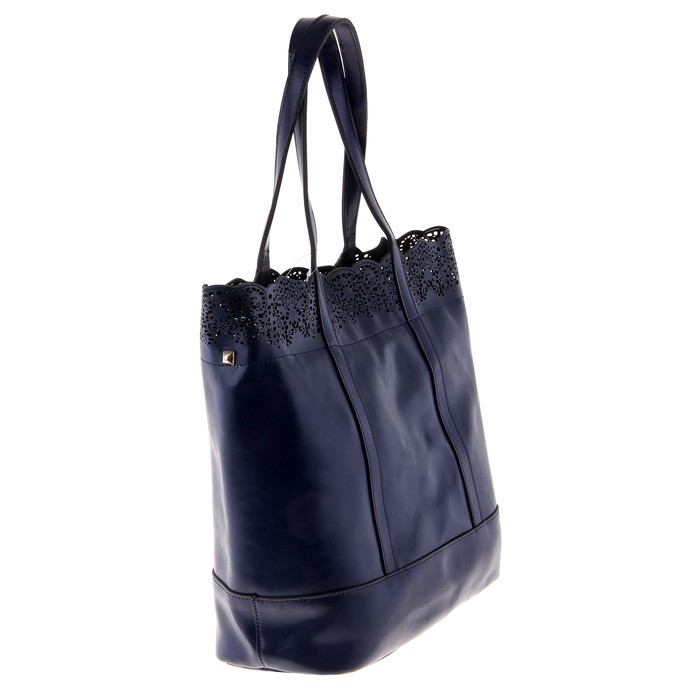"""Сумка женская """"Ажур"""" 2 отделения, наружный карман, длинный ремень, темно-синий"""