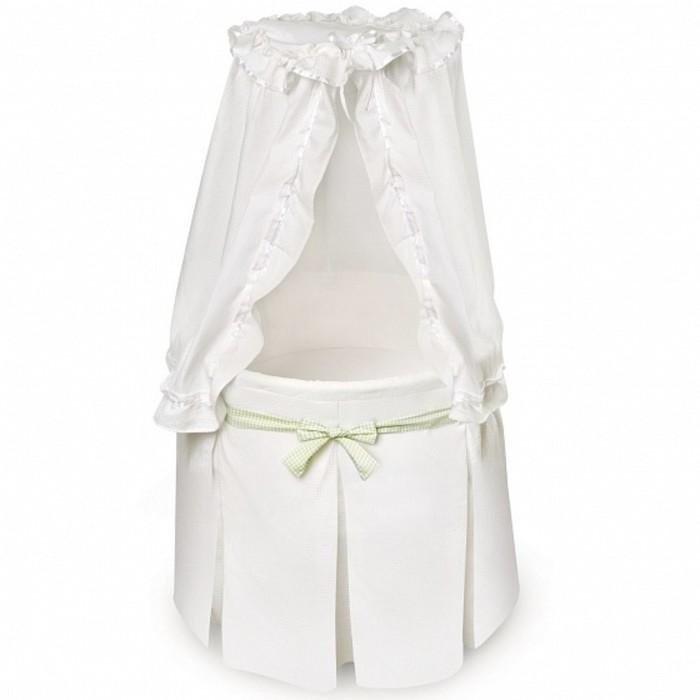 Кроватка-колыбель Solo круглая White/Green, цвет белый/зелёный