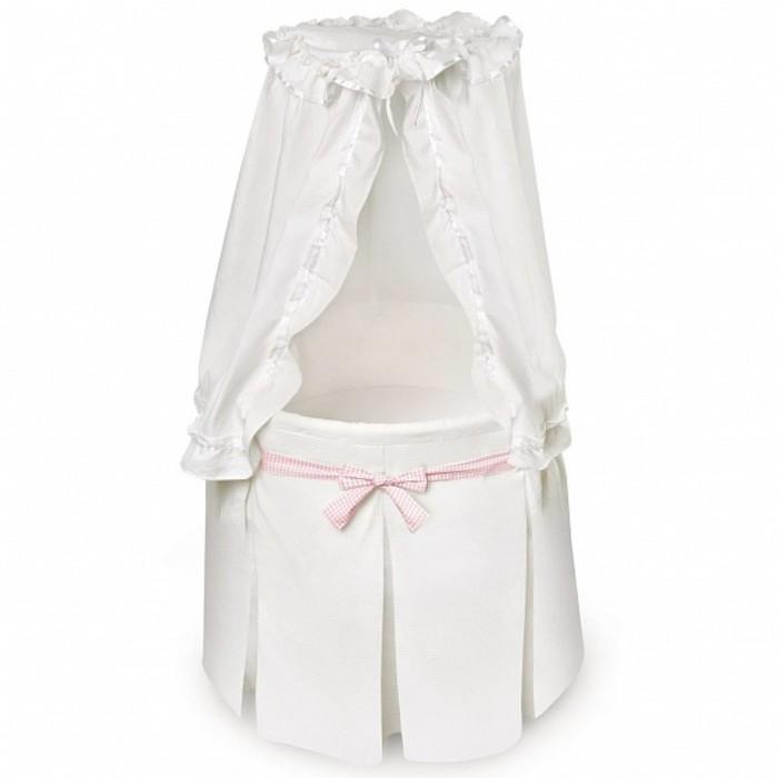 Кроватка-колыбель Solo круглая White/Pink, цвет белый/розовый