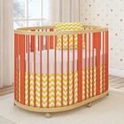 Кроватка-трансформер 6 в 1 TreeO, круглая/овальная, 120 × 90 см, коралловый