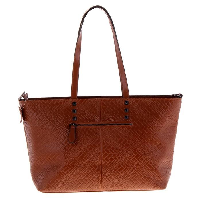 """Сумка женская """"Кирпичик"""" 2 отдела, наружный карман, длинный ремень, светло-коричневый"""