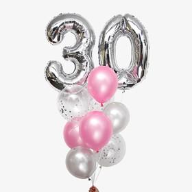 Фонтан из шаров «30 лет», латекс, фольга, цвет серебро, 11 шт.