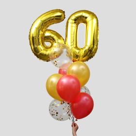 Фонтан из шаров «60 лет», латекс, фольга, 11 шт.