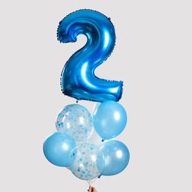 """Фонтан из шаров """"2 годика"""", для мальчика, с конфетти, латекс, фольга, 10 шт."""