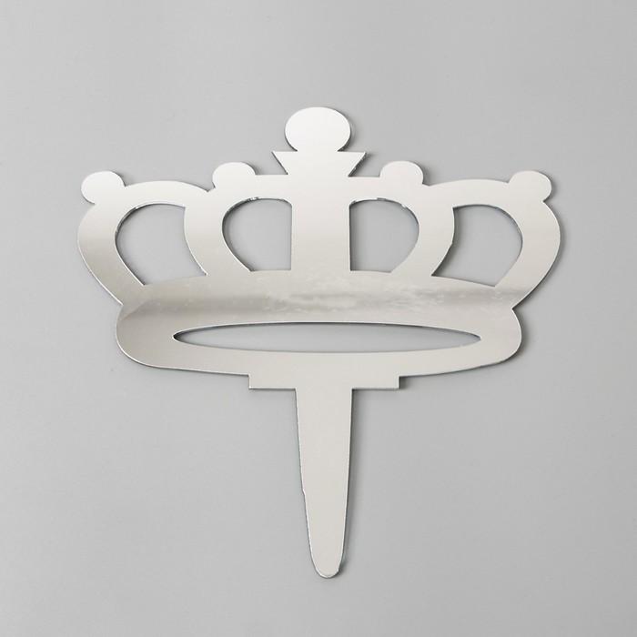 Топпер «Корона», акрил, цвет серебряный