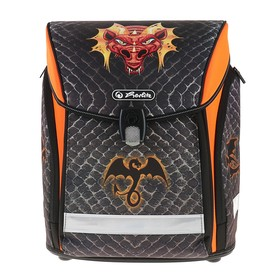 Ранец на замке Herlitz MIDI NEW, 38 х 32 х 26, для мальчика, Dragon, чёрный /оранжевый