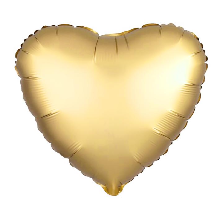 """Шар фольгированный 5"""" «Сердце» с клапаном, матовый, цвет золотой - фото 308475591"""