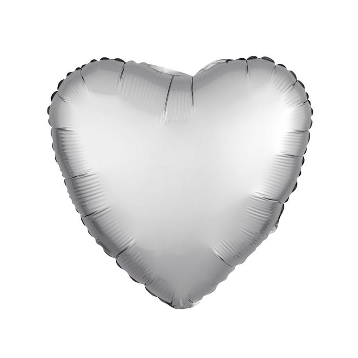 """Шар фольгированный 5"""" «Сердце» с клапаном, матовый, цвет серебряный - фото 308475706"""