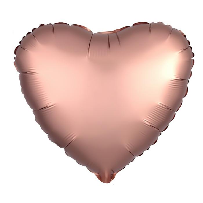 """Шар фольгированный 5"""" «Сердце» с клапаном, матовый, цвет розовое золото - фото 308475707"""