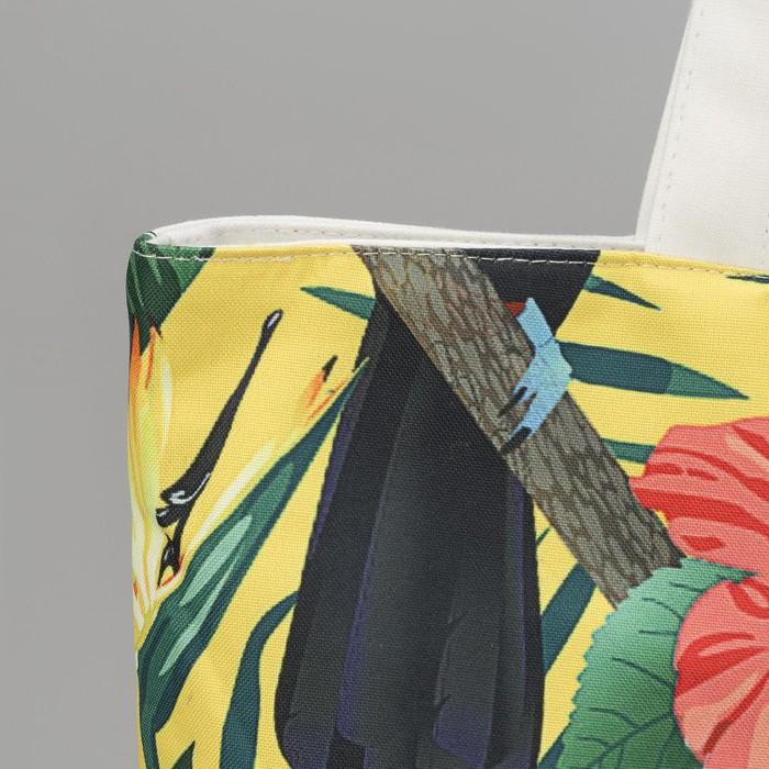 """Сумка текстильная """"Туканы"""", отдел на молнии, с подкладом, цвет белый"""