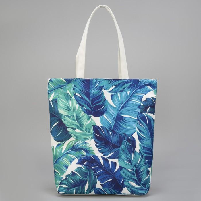 """Сумка текстильная """"Листья"""", отдел на молнии, с подкладом, цвет белый"""