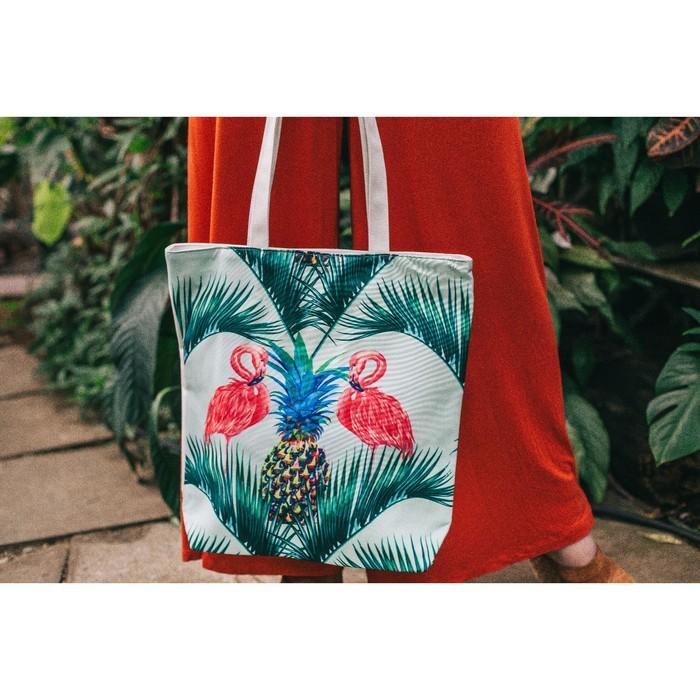 """Сумка текстильная """"Фламинго"""", отдел на молнии, с подкладом, цвет белый"""