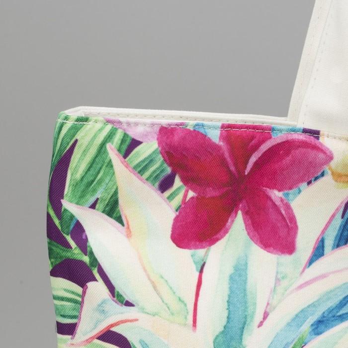"""Сумка текстильная """"Тропики"""", отдел на молнии, с подкладом, цвет белый"""