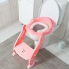 Детская накладка - сиденье на унитаз «Нотки», с мягким сиденьем, цвет розовый - фото 926521