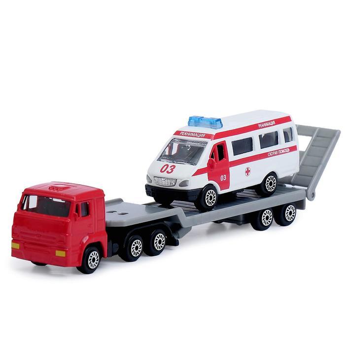 Набор из 2-х металлических машинок: Камаз автотранспортер, Газель, 7,5 см, МИКС - фото 105652923