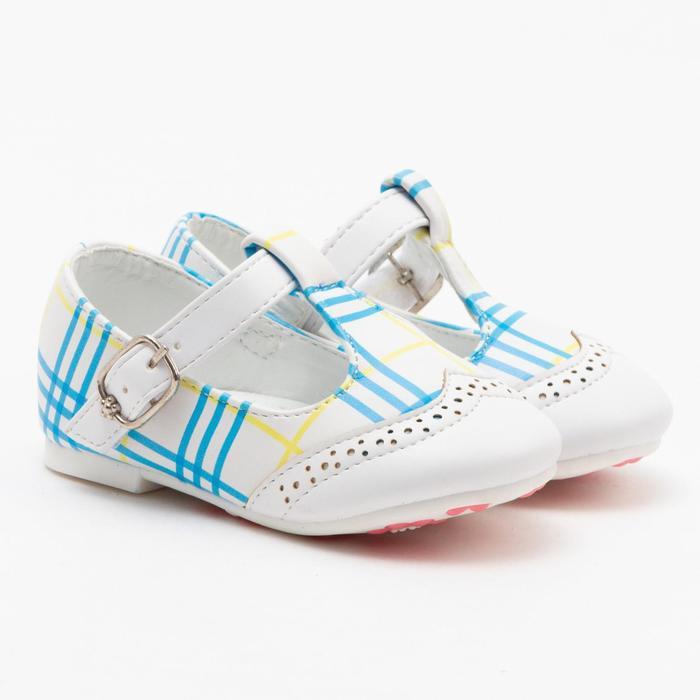 Туфли детские MINAKU, цвет белый/клетка, размер 20