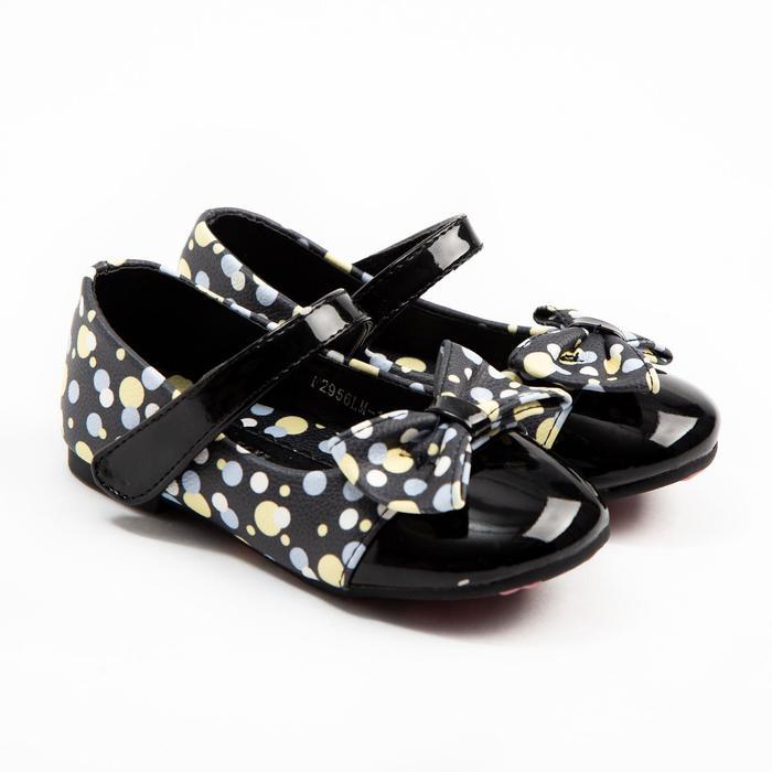 Туфли детские MINAKU, цвет чёрный/горошек, размер 20