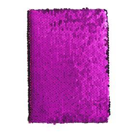 Записная книжка подарочная формат А5, 80 листов, линия, Пайетки двухцветные фиолетово-золотистые1298