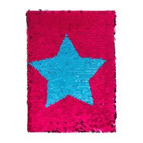Записная книжка подарочная формат А5, 80 листов, клетка, Пайетки малиново-бирюзовые, Звезда
