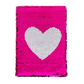 Записная книжка подарочная формат А5, 80 листов, клетка, Пайетки малиново-серебристые Сердце