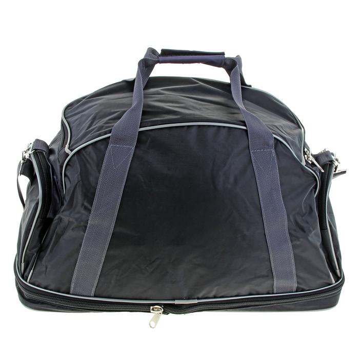 Сумка дорожная, 1 отдел, 3 наружных кармана, ремень, цвет черно-серый