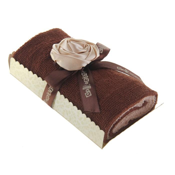 """Полотенце сувенирное рулет """"Collorista"""" """"Ванильная роза в шоколаде"""", 30 х 30 см - 2 шт"""