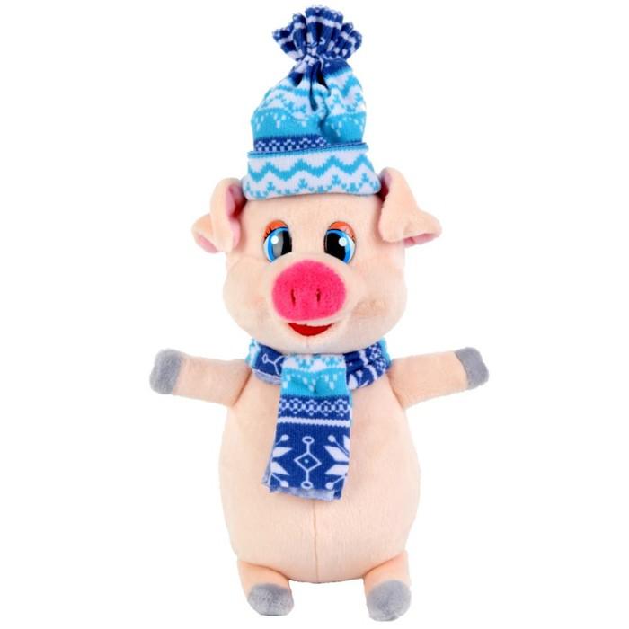 Мягкая игрушка «Поросёнок» в синем шарфе и шапке, 17 см