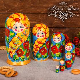 """Матрешка 7 кукольная """"Русская краса (синяя)""""  22 см"""