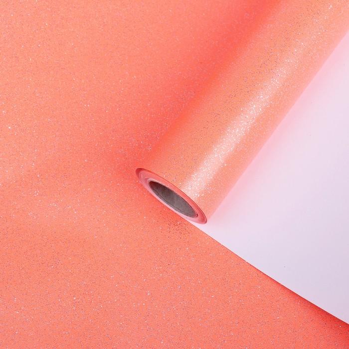 """Бумага упаковочная, """"Звездная пыль"""", с блёстками, неоновый красный, 0,7 x 5 м"""